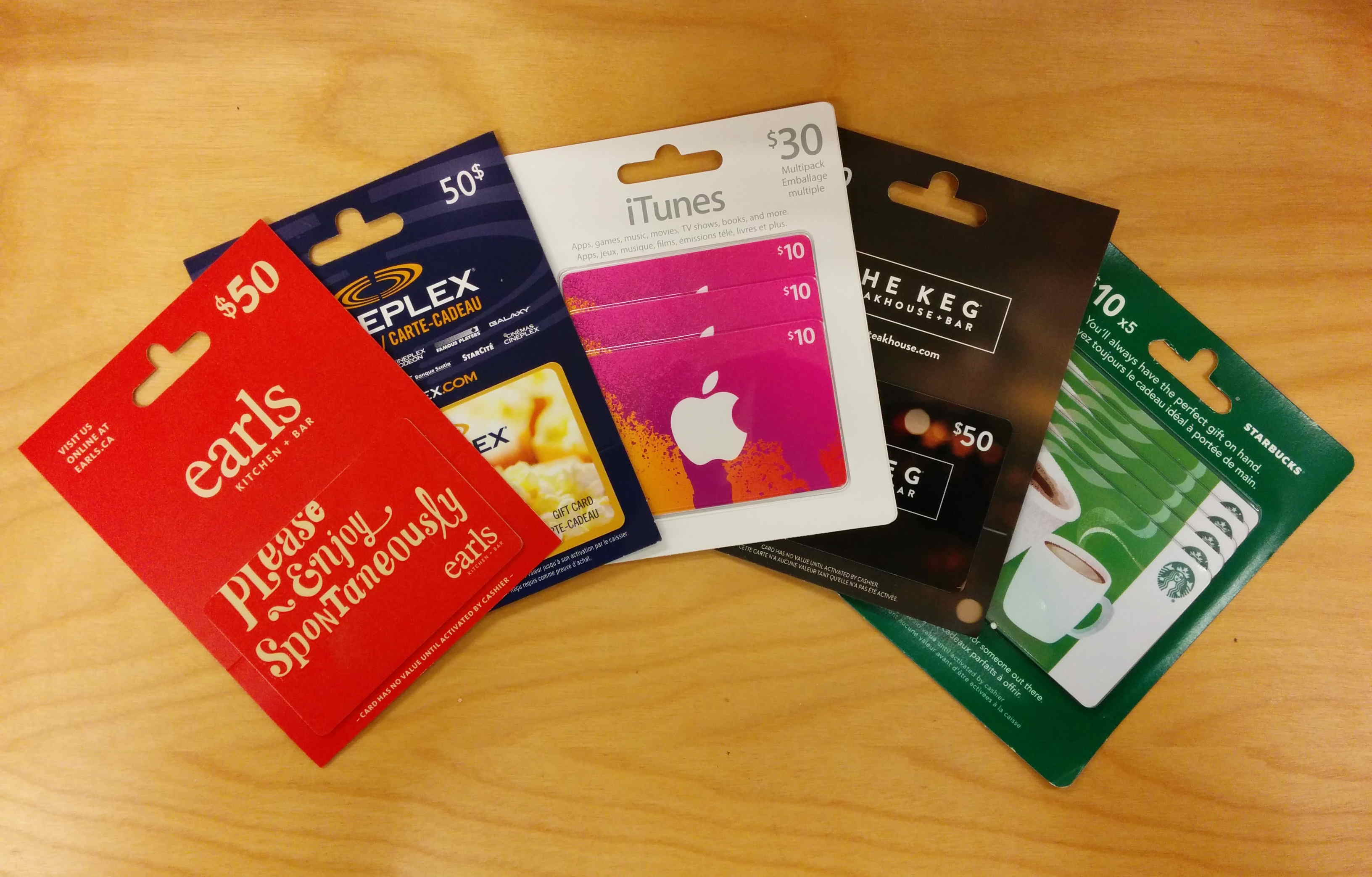 Gift Cards fanned